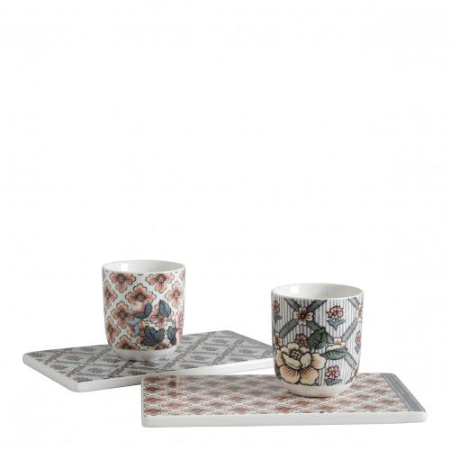 Coffret de 2 tasses et 2 plateaux - Madame de Pompadour