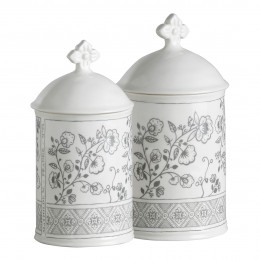 Set de 2 pots à coton Paradis Fleuri